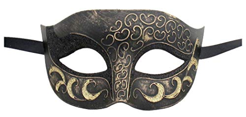 Luxury Mask Antique Look Venetian Party Mask (One Size, Antique/Black/Gold)