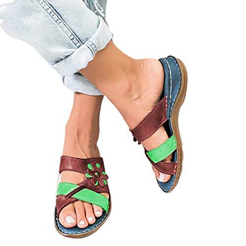 Sandalias de Plataforma cómodas para Mujer Sandalias de tacón de cuña de Playa Sandalias Transpirables con Cierre de Hebilla Hueca Sling Back Sandalias Zapatos,2 Green,43 ✅