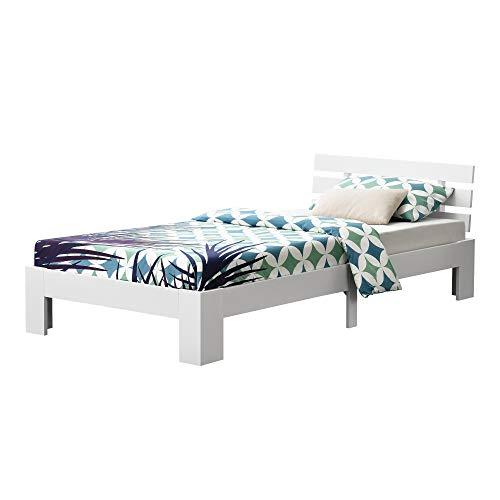 [en.casa] Cama de Pino Nivala 120 x 200 cm Cama Simple Cama Individual con Somier Capacidad de Carga 150 kg Blanco Lacado Mate