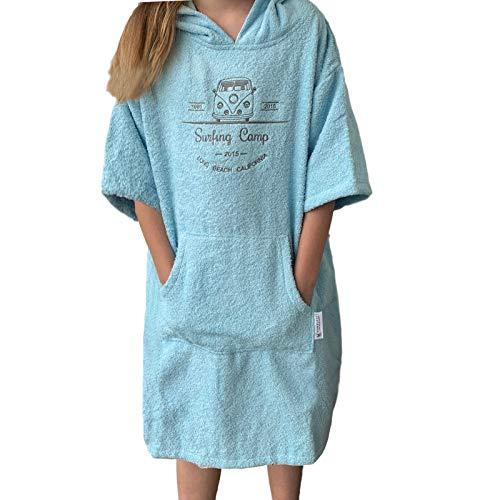 HOMELEVEL Kinder Frottee Surfponcho mit Kapuze und Stickerei 100% Baumwolle Strandponcho Poncho Badeponcho Hellblau 3-5 Jahre