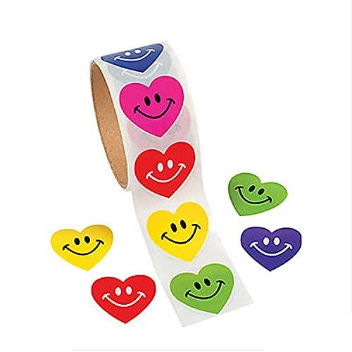 CHUANGOU A Forma di Cuore Smile Adesivi Etichetta, Adesivi Premio Insegnante E Studente, per Regalo Bomboniere Compleanno Natalizi Decorazione