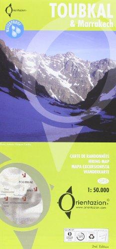 Toubkal, mapa excursionista. Incluye plano de Marrakech. Escala 1:50.000. Impreso en polyart, resistente al agua. Orientazion.