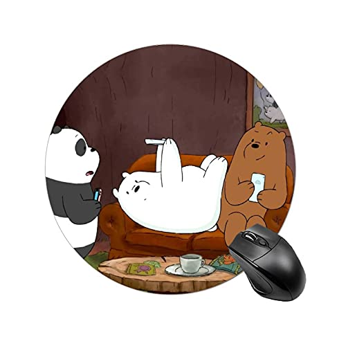 We Bare Bears Mouse Pad Rubber Base Mousepad 7.8x7.8inches Mouse Mat for Laptop Computer
