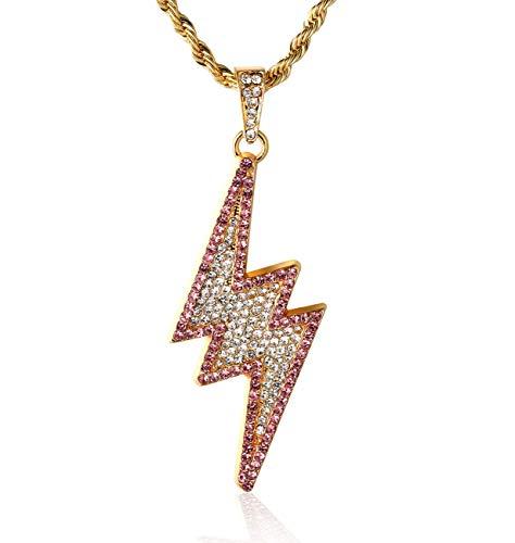 Halukakah  Fulmine  Uomo Maschile 18K 18 Carati Placcato Oro Reale Cz Pieno Diamante 3D Lampeggiante Fulmine Pendente Collana con Catena di Corda Gratuita 75cm(30')