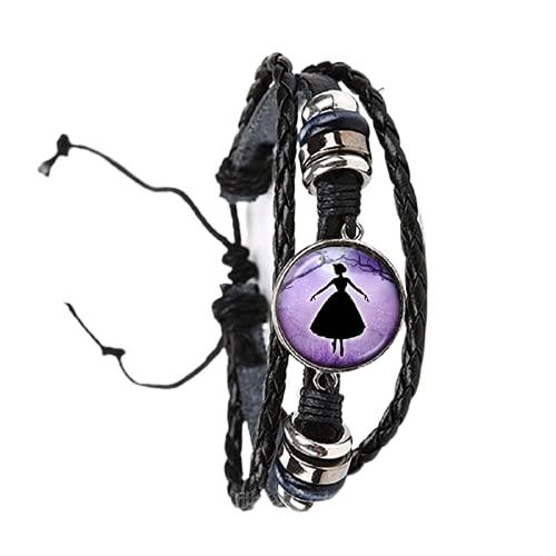 Pulsera de cristal con silueta de bailarina, bailarina, color negro, marrón, 2 colores, pulsera de cuero ajustable, joyería de regalo