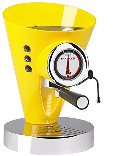 BUGATTI, Diva Evolution, máquina de café espresso y capuchino, para café molido y vainas, función de vapor sin parar, 15 bar, 950 W, capacidad 0,8 litros, diseño elegante (amarillo)