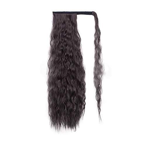 JessLab Pferdeschwanz Extensions, 56cm Curly Ponytail Extension Maiswelle Hitzebeständig Kunsthaare Haarverlängerungen Wellig Haarteil Pony Wig mit Magische Paste für Frauen Mädchen