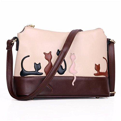 Longra Le donne del gatto coniglio in pelle a tracolla della borsa della borsa di Crossbody (A)