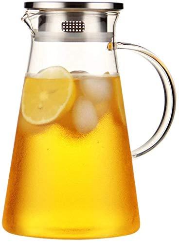 GAOYINMEI Tetera Pitcher Tetera l Bidón sin Plomo Vidrio borosilicato hervidor de Agua con la manija de Cristal y Acero Inoxidable Jarra de Tapa Adecuada for Bebidas de Frutas frío Hielo Jugo Etc