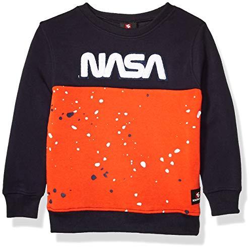 Southpole Jungen NASA Collection Fleece Sweatshirt (Hoody, Crewneck) Pullover, Orange Sports, Mittel