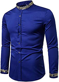 YDYG Men's Embroidered Shirt, Long-Sleeved Slim Shirt, Casual Formal Occasions