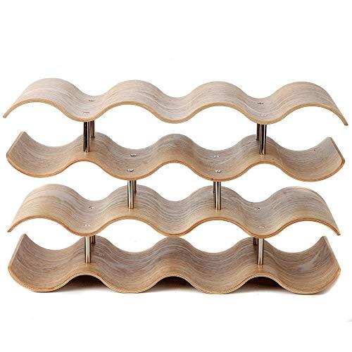 Tablas de vino de Mesa 4-Tier vino de madera del estante de mesa Vino de almacenamiento de retención de 14 botellas de cocina encimeras de mesa despensa Sostiene botellas de vino cerveza Pop agua de s