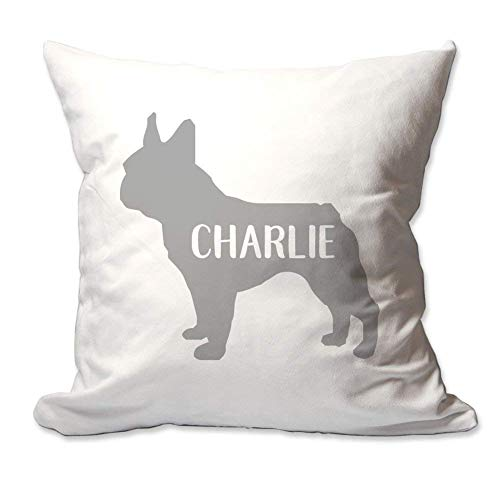 Kysd43Mill Funda de cojín personalizada de lona con diseño de bulldog francés con nombre, funda de almohada decorativa de 45,7 x 45,7 cm