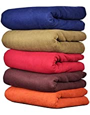 Goyal's Plain Fleece Single Bed Blanket (Multicolour; 58X88 Inches) - Pack of 5
