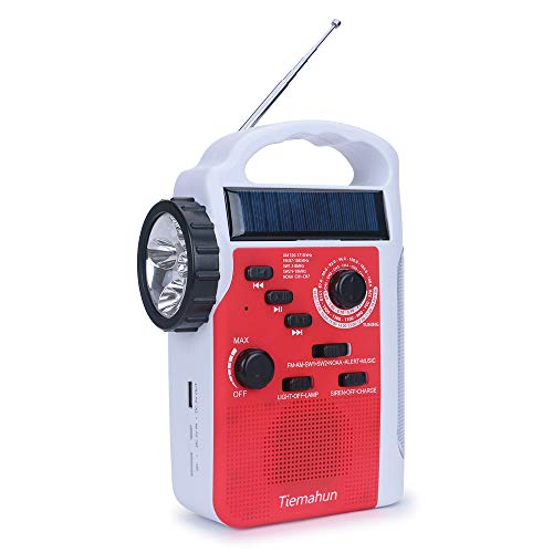 【2021 Newest Model】 Tiemahun NOAA Weather Alert Emergency Radio WB/FM/AM/SW, Solar/Hand Crank Windup, MP3 Music Radio, 2300mAh Mobile Phone Charger LED Flashlight Reading Lamp TF Card Speaker (RED)