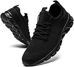 Tvtaop Tennis Shoes for Mens Athletic Running Shoes Lightweight Casual Sneakers Non Slip Walking Gym Sport Shoes Black,Mens Size 11