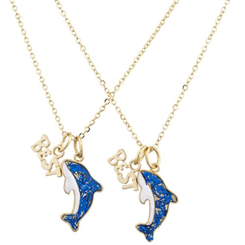 Lux Accessories Gold Tone Blue Glitter Dolphin Best Buds BFF...