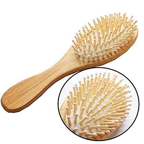 Depory 1PC natürliche Bambus-Holz-Anti-Statik-Haarbürste Paddel Kissen Haarbürste Massage