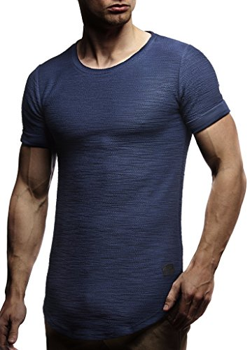 Leif Nelson Herren Sommer T-Shirt Rundhals-Ausschnitt Slim Fit Baumwolle-Anteil Moderner Männer T-Shirt Crew Neck Hoodie-Sweatshirt Kurzarm lang LN6324 Dunkel Blau M