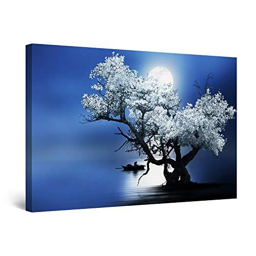 Startonight Cuadro Moderno en Lienzo - Árbol Flores y Luna Azul - Pintura Naturaleza para Salon Decoración 60 x 90 cm