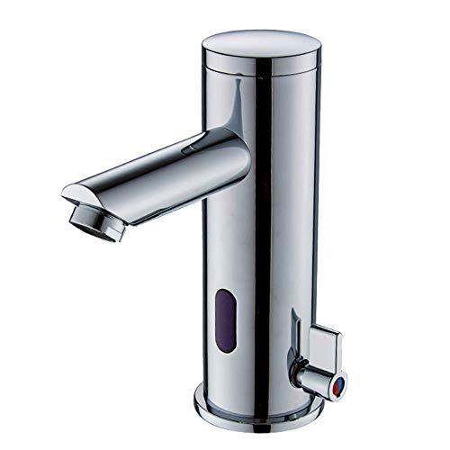 YLLN Automático Electrónico Infrarrojo Automático Sensor Mezclador de Lavabo Grifo de baño Lavabo Grifo de una Sola Palanca Grifo Latón Cromado Funcionamiento con Pilas Baño Cuarto de Lavado