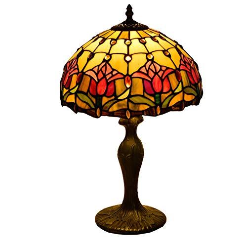 Hobaca E27 12 Pulgadas Vitral Tulipán Tiffany Lamparas de Mesa Para el Dormitorio Vintage Art Decó Lampara Mesa de Noche