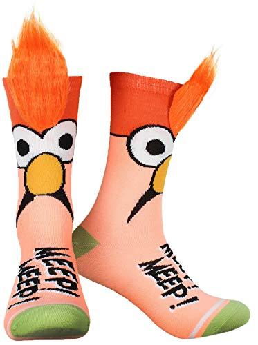 The Muppets Beaker Meep Meep Fuzzy Hair Adult Crew Socks