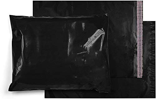 Amiff Pack of 50 Black Unpadded Mailers Pouches 6 x 9 Poly Envelopes 3.2 Mil with Peel and Seal Closure 6x9 Waterproof Plastic Clothing Bags for Mailing Shipping Packaging Wrapping Packing Supplies
