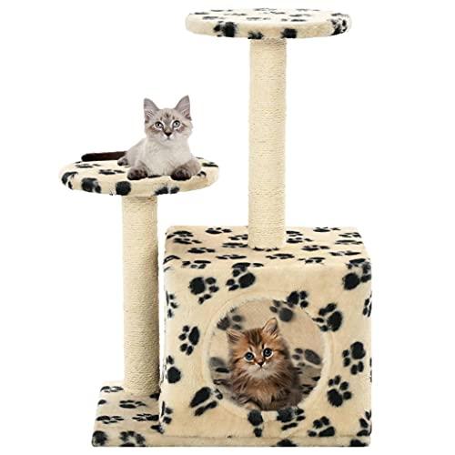Rascador para Gatos con Poste de sisal 60 cm Huellas Beige Productos para Mascotas Productos para Mascotas Productos para Gatos Mobiliario para Gatos