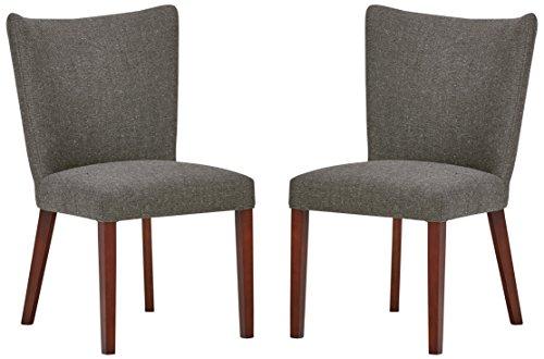 Marque Amazon -Rivet Tina - Lot de 2 chaises de salle à manger modernes à dossier arrondi, 91,5cm H, Gris cendré