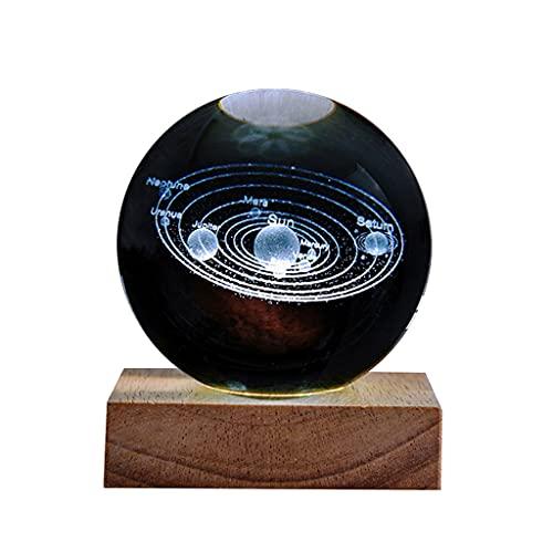 bolas de energía Moderno Minimalista Crystal Ball Office Desktop Pequeños adornos Transparente Sistema solar Creativo Night Light Decoración del hogar bola de fotografía de vidrio ( Size : 3.15IN )