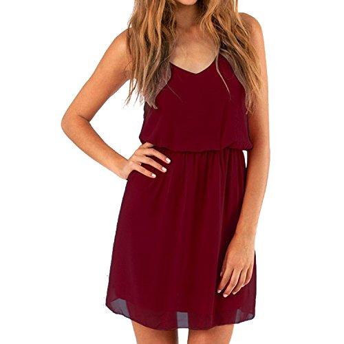 Cassiecy Damen Sommerkleid Ärmellos V-Ausschnitt Chiffon Casual doppel Schulterrieme Elegant Minikleid Partykleid (Weinrot S)
