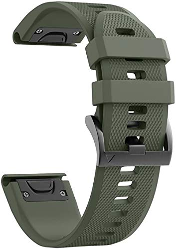 Watch Band Fenix 5X 26mm Width Compatible with Fenix 5X/Fenix 5XPlus/Fenix 6X Pro Silicone Band (ArmyGreen)