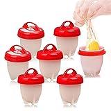 HUHUDAY Cuit Oeufs, 7 Cuit Pocheuse Silicone Oeuf, Easy Eggs Cooker Coquetier Gel de Silice de Qualité Alimentaire sans BPA, Faire Bouillir des Oeufs sans Le Coque