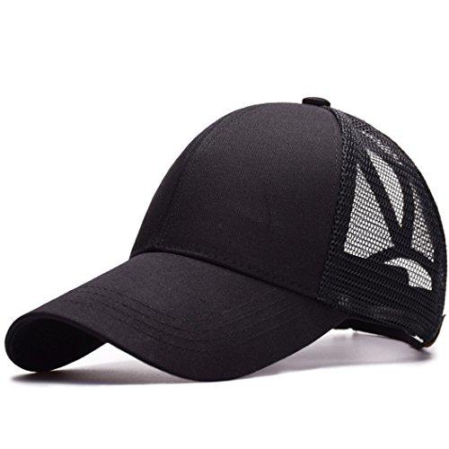 UMIPUBO Mesh Baseball Cap für Damen Basecap Outdoor Sport Mütze Lässig Baseballkappe Nettokappe Schachtelhalm Baseballmütze (Schwarz)