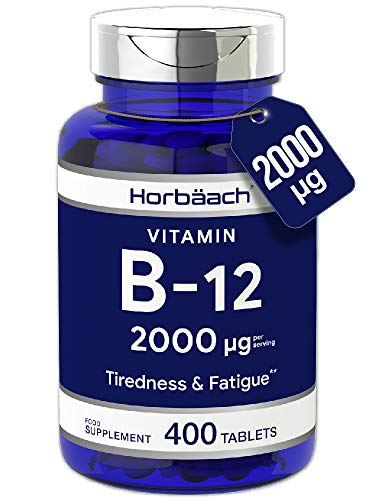 Vitamin B12 2000mcg | 400 Tablets | Reduction of Tiredness & Fatigue | Vegan, Non-GMO, Gluten Free | by Horbaach