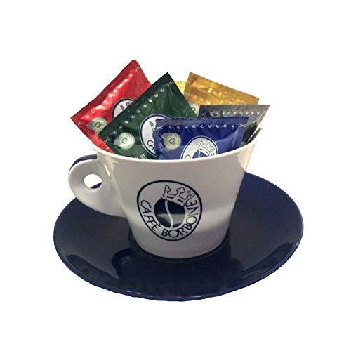 """Kaffeetasse + Unterteller aus Porzellan mit """"Café Borbone""""-Schriftzug zur Aufbewahrung von Kaffeepads und Kapseln"""