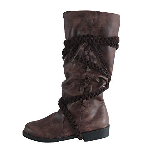 WUSIKY Stiefeletten Damen Bootsschuhe Boots Geschenk für Frauen Herren Leder Kreuzriemen Kniehohe Schuhe Cowboy Schnürstiefel mit niedrigen Absätzen