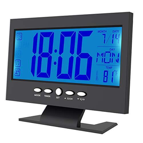 Rehomy Digitaler Wecker, LCD-Digitalwecker, Schlummerfunktion, Kalender, Temperaturanzeige, geräuschaktivierte Uhr, Schwarz