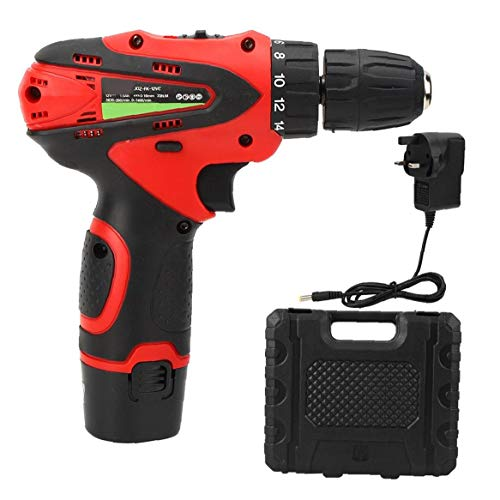 Lithium Drill Cordless Drill Electric Screwdriver 12V Drill Set Two-Speed Red Battery Project Tool Power Tool Accessories