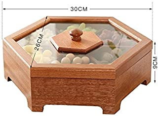 Dried fruit box ZZSIccc Solid Wood Dried Fruit Box Candy Box Snack Plate Home Chinese Style Living Room Compartment With Lid Creative Hi Sugar Melon Box Wood, B