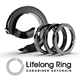 5. Lifelong Ring 300 Series, Carabiner, Keychain, Key Ring, Charm Chain, Charm Ring, with 3 Flat Style Key Rings (Graphite Black)
