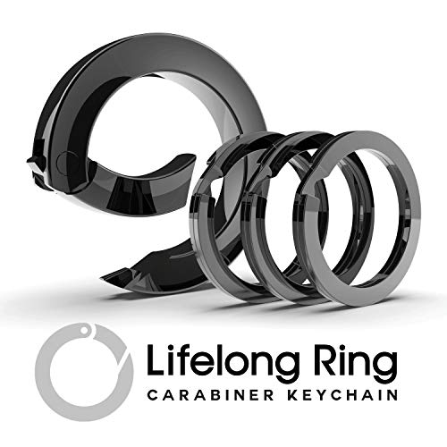 LIFELONG RING 300 Series (1) Carabiner Keychain Ring & (3) Matching Flat-Style Key Rings for Keychain Set, Universal Size Fashion Round Key Carabiner Clip, Circle Key Clip Holder (Graphite Black)