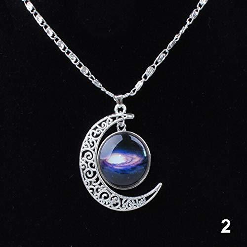 ERHETUS Damen-Halsreif, Galaxie-Halbmond-Glasperlen-Anhänger, Halskette, Kristallschmuck, Geschenke für Frauen