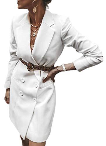 H&E Abrigo de mujer con muescas solapa doble botonadura chaqueta chaquetas
