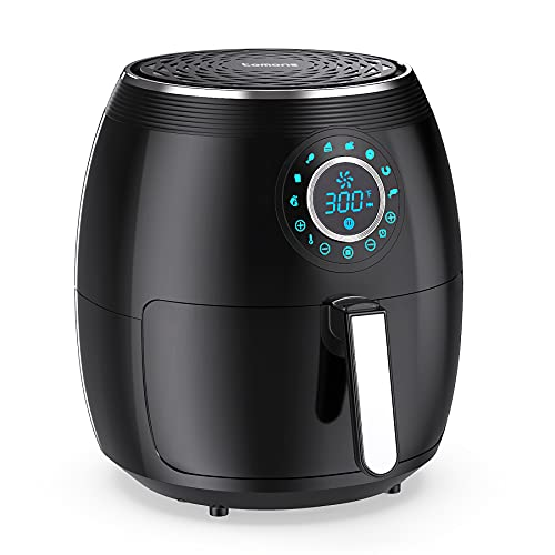 Tomons Air Fryers 5.8 Quart, Hot Cooker Oven Large Capacity with Touch Control Pad 8 Presets Dual Pans Timer Function LED Digital Display Recipe Book, Dishwasher Safe