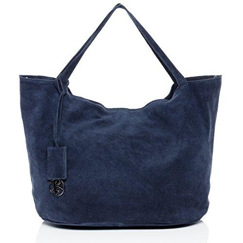 BACCINI Handtasche mit Langen Henkeln echt Wildleder Selma groß Henkeltasche Schultertasche Ledertasche Damen blau