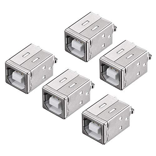 Conector USB YeVhear PCB Tipo B Jack Hembra 180 Grados DIP Inserción Recta Vertical 5 Piezas