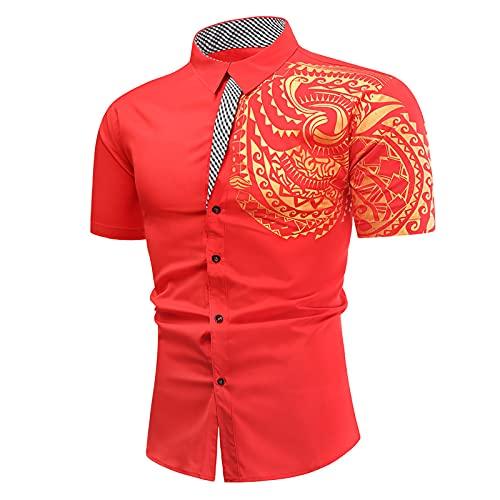Camisa de manga corta para hombre, de verano, informal, con tatuaje, bronce, con botones, camisa de manga corta, cuello alto, para ocio, ligera, corte ajustado. rojo L