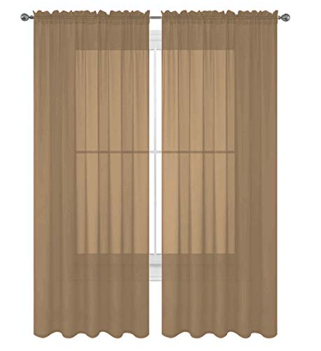 """Decotex 2 Piece Solid Elegant Sheer Curtains Fully Stitched Panels Window Treatment Drape (54"""" X 84"""", Taupe)"""